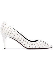 Deimille Studded Pointed Pumps White