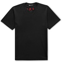 Y 3 Embroidered Printed Cotton Jersey T Shirt Black