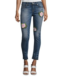 Hudson Nico Mid Rise Super Skinny Release Hem Jeans With Rose Embroidery Indigo Blue