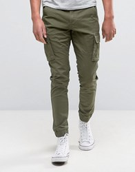 Only And Sons Cargo Trouser In Skinny Fit Olive Night Green