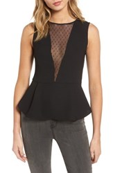 Trouve Women's Dot Mesh Peplum Top