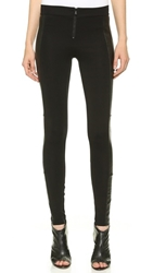 Alice Olivia Front Zip Leggings With Leather Panels Black
