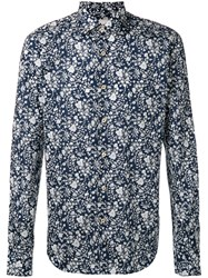 Xacus Floral Print Shirt Men Cotton 45 Blue