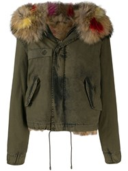 Mr And Mrs Italy Fur Hood Trim Jacket Green