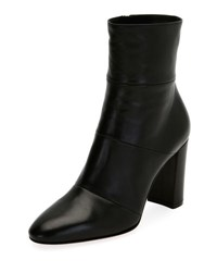Gianvito Rossi Stitched Leather Block Heel Boot Black