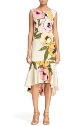 Women's Tracy Reese High Low Floral Print Stretch Silk Dress