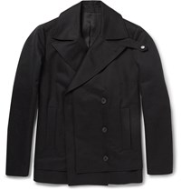 Balenciaga Double Breasted Cotton Peacoat Black