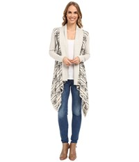 Lucky Brand Aztec Drapey Sweater Grey Multi Women's Sweater Gray