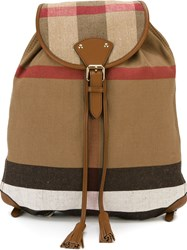 Burberry Checked Backpack Brown