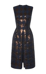 Martin Grant Brocade Houndstooth Pleat Front Dress Navy