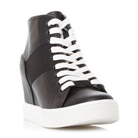 Steve Madden Lussious Lace Up Wedge Trainers Black