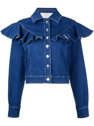 Sara Battaglia Ruffled Denim Jacket Blue