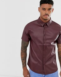 Another Influence Pu Faux Leather Short Sleeve Shirt Red