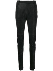 Ilaria Nistri Slim Fit Leather Trousers Black