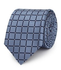 Reiss Luther Geometric Silk Tie In Airforce Blue