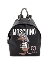 Moschino Slogan Faux Leather Backpack Black