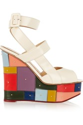 Charlotte Olympia Mosaic Glossed Leather Wedge Sandals White