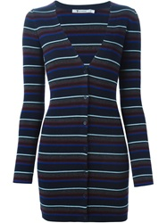 T By Alexander Wang Striped Fitted Cardigan Blue