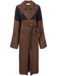 Nina Ricci Long Zipped Trenchcoat Brown