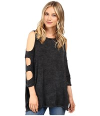Culture Phit Lynda Cut Out Top Acid Black Women's Clothing