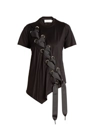 Marques Almeida Asymmetric Lace Up Cotton T Shirt Black