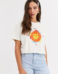 Daisy Street Relaxed Crop T Shirt With Sun Graphic Beige