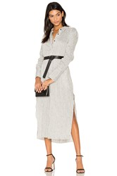 Halston Pinstripe Maxi Shirt Dress White