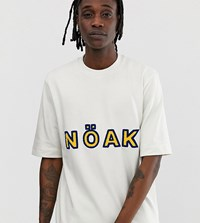 Noak Oversized T Shirt With Towelling Logo And High Neck White