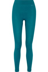 Falke Ergonomic Sport System Stretch Wool Blend Jersey Leggings Turquoise