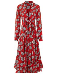 Dodo Bar Or Red Paisley Lennon Tie Front Dress