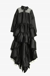 Natasha Zinko Ruffle Skirt Button Up Dress Black