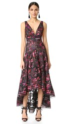 Marchesa Floral A Line Gown Black
