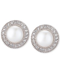Macy's Cultured Freshwater Pearl 7 1 2Mm And White Topaz 1 6 Ct. T.W. Earrings In Sterling Silver No Color