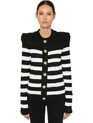 Balmain Striped Knit Cotton Blend Cardigan Black