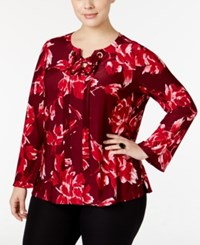 Inc International Concepts Plus Size Lace Up Bell Sleeve Printed Blouse Only At Macy's Port