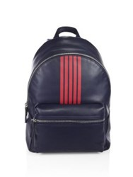 Uri Minkoff Paul Striped Leather Backpack Dark Navy