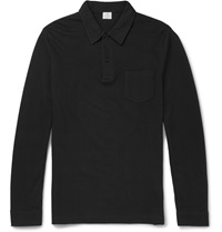 Sunspel Riviera Cotton Pique Polo Shirt Black