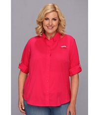 Columbia Plus Size Tamiami Ii L S Shirt Bright Rose Women's Long Sleeve Button Up Pink