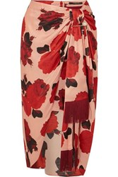 Mother Of Pearl Emma Embellished Ruched Floral Print Satin Midi Skirt Pink