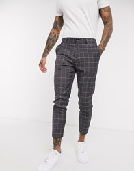 New Look Skinny Crop Grid Check Trouser In Light Grey