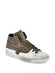 Galliano Color Blocked Leather High Top Sneakers Off White