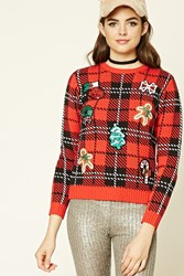 Forever 21 Sequined Patch Holiday Sweater Red Black