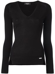 Dsquared2 Slim V Neck Jumper Black