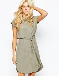 Oasis Military Shirt Dress Khaki
