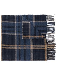 Hope Checked Print Wide Scarf Blue