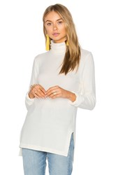 Heather Brushed Hacci Turtleneck White