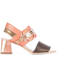 Pollini Metallic Grey Detail Sandals