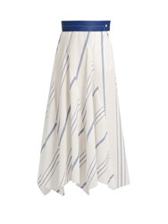 Loewe Striped Cotton Blend Midi Skirt Blue White