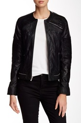7 For All Mankind Zip Front Moto Leather Jacket Black