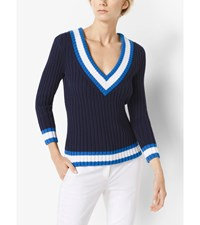 Stretch Silk And Cotton Ribbed V Neck Sweater Maritime